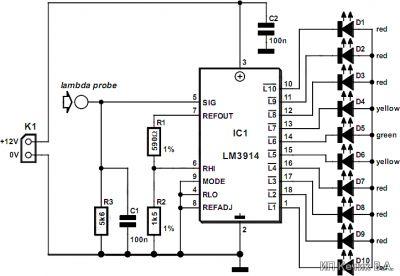 Схема тестера для проверки кислородных датчиков