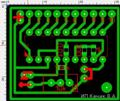 Печатный монтаж тестера кислородного датчика